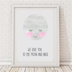 We love you to the moon and back print