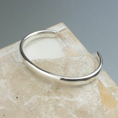 Mens' Curved Solid Silver Open Cuff Bracelet