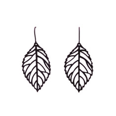 Leaf vein earrings in black
