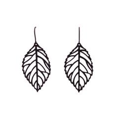 Leaf vein earrings in black