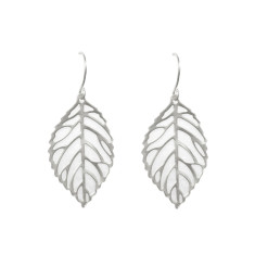 Leaf vein earrings in silver