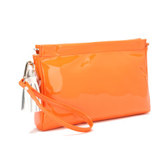 Leah clutch in orange with white leather tassels