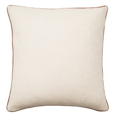 Tan leather piped cushion cover