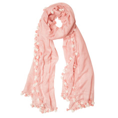 Isabel pom pom luxe silk blend scarf (various colours)