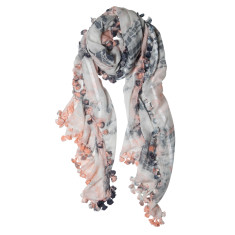 Tie dye silk blend pom pom scarf (various colours)