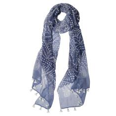 Indigo print tassled scarf
