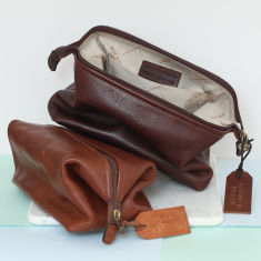 Personalised Genuine Leather Wash Bag