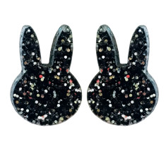 Black glitter bunny earrings