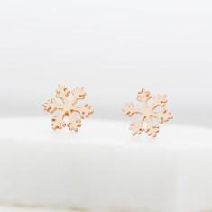 Snowflake stud earrings in rose gold sterling silver