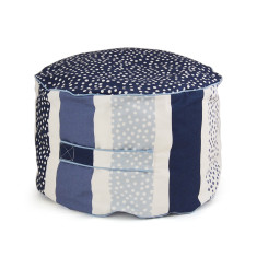 Navy stripy dot bean ottoman