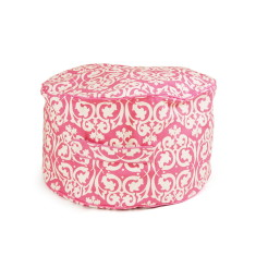 Pink damask bean ottoman Cover
