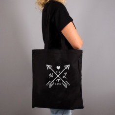 Couples Initial Personalised Tote Bag Canvas or Black