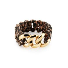 Woven bracelet in leopard & gold