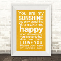 You are my sunshine typographic art print
