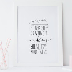Let her sleep typographic nursery wall art