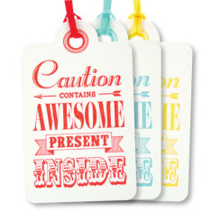 Mixed letterpress awesome birthday tags (pack of 6)