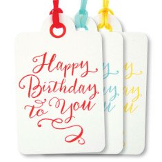 Mixed letterpress happy birthday tags (pack of 6)