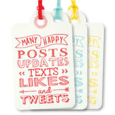 Mixed letterpress tweets birthday tags (pack of 6)