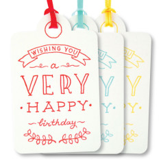 Mixed letterpress very happy tags (pack of 6)