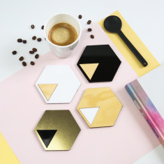 Geo coasters in black, brushed gold, white & timber (set of 4)