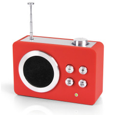 Lexon mini Dolmen radio in red