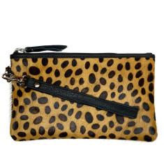 Cheetah print hide clutch bag