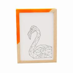 Geometric flamingo framed print