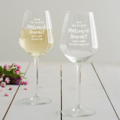 Personalised 'Will You Be My Matron Of Honour?' Wine Glass