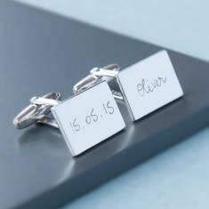 Men's personalised sterling silver rectangular cufflinks