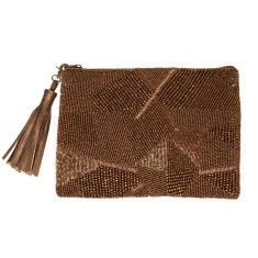 Abstract beaded tassle clutch - bronze