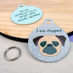 Pug Personalised Dog Name Id Tag