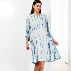 Shirt dress in shibori