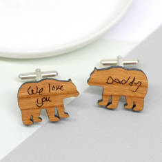 Personalised handwritten daddy bear cufflinks