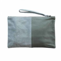 Luxe clutch in suede & leather