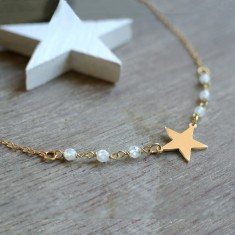 Personalised Gold Little Star and Moonstone Necklace