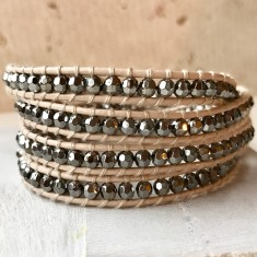 Vanilla Leather Multi Wrap Beaded Bracelet