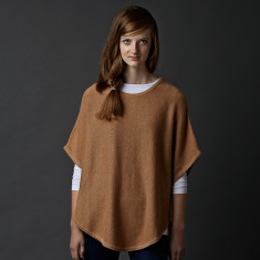 Reversible cotton cashmere poncho in raffia & ginger