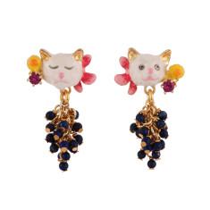 Little Cats with Grapes Earrings