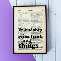 Shakespeare quote 'Friendship is constant' vintage word art print