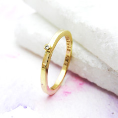 Personalised Solid Gold Diamond Ring