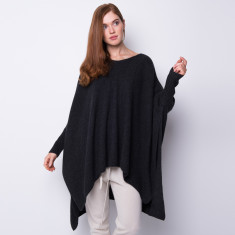 Oversized rib knit poncho in charcoal