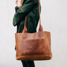 Vintage Leather Weekender Bag