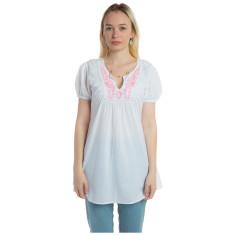 Light cotton shirt with pink stitching