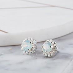 Round Crystal Bridal Earrings