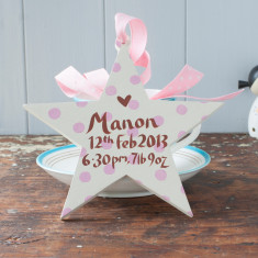 Personalised Baby Girl's Birth Date Star