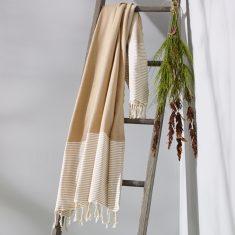Freshwater Turkish Towel in Latte & White