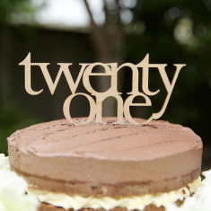 Twenty one wooden birthday cake topper