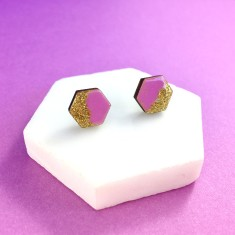 Hexagon free flow earrings - lilac purple and gold glitter