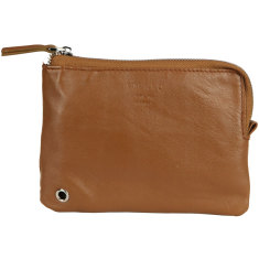 Light brown LZP recycled leather pouch