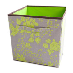 Lime floral storage boxes (set of 2)